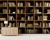 Natural Bookcase Wallpaper Mural wallpaper mural living room preview
