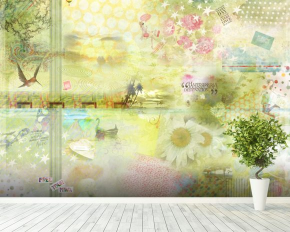 Limegreen Happiness Is a Journey wall mural room setting