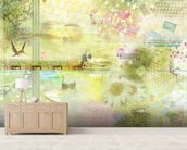 Limegreen Happiness Is a Journey wall mural living room preview