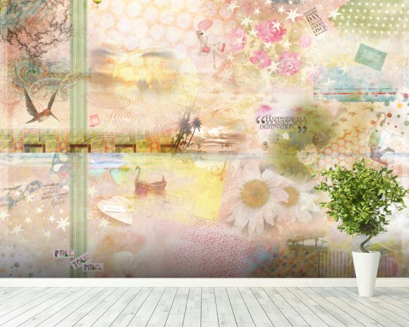 Pink Happiness Is a Journey wallpaper mural room setting