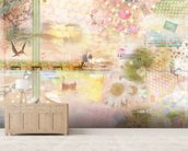 Pink Happiness Is a Journey wallpaper mural living room preview