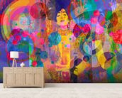Crazy Rainbow mural wallpaper living room preview