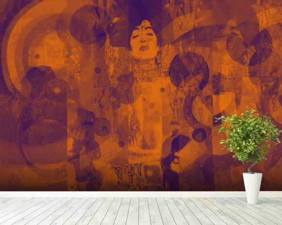 Crazy Lila Orange wall mural room setting
