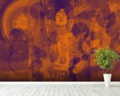 Crazy Lila Orange wall mural in-room view