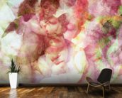 Softly Softly Lila Pink mural wallpaper kitchen preview
