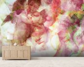 Softly Softly Lila Pink mural wallpaper living room preview