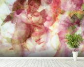 Softly Softly Lila Pink mural wallpaper in-room view