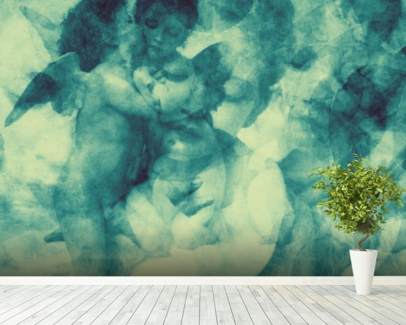 Softly Softly Turquoise Blue wallpaper mural room setting