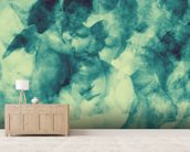 Softly Softly Turquoise Blue wallpaper mural living room preview
