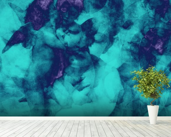 Softly Softly Turquoise wall mural room setting