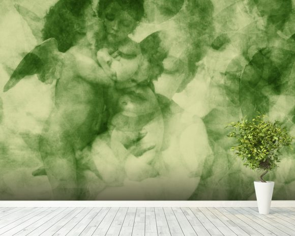 Softly Softly Lake Green wallpaper mural room setting
