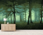 Delusion-Green mural wallpaper living room preview