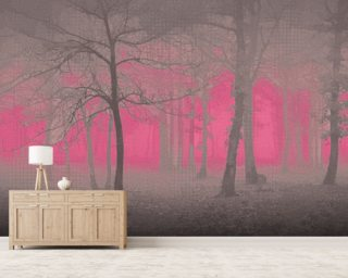 Delusion - Pink Mural Wallpaper Wall Murals Wallpaper