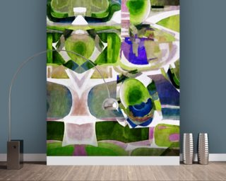 Dreamland Green wall mural
