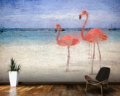 Flamingo Natural wallpaper mural kitchen preview