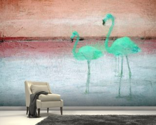Flamingo Pink Green mural wallpaper