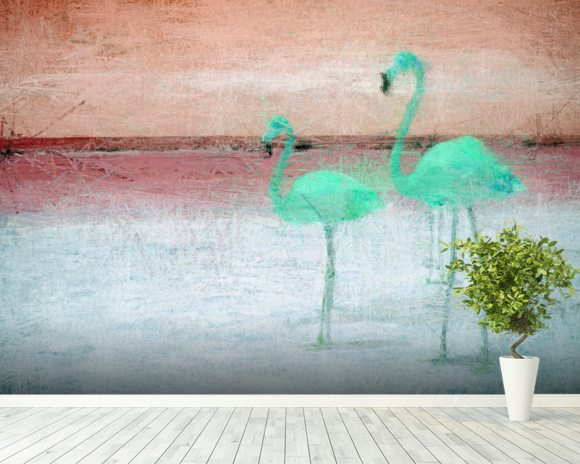 Flamingo Pink Green mural wallpaper room setting