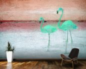 Flamingo Pink Green mural wallpaper kitchen preview