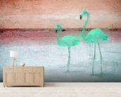 Flamingo Pink Green mural wallpaper living room preview