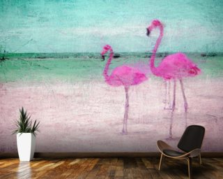 Flamingo Turquoise Pink wall mural