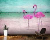Flamingo Turquoise Pink wall mural kitchen preview