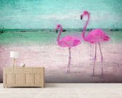 Flamingo Turquoise Pink wall mural living room preview