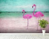 Flamingo Turquoise Pink wall mural in-room view
