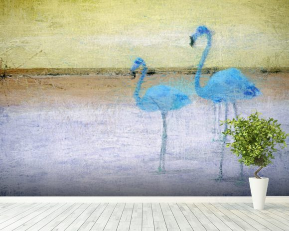 Flamingo Blue Yellow wallpaper mural room setting