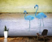 Flamingo Blue Yellow wallpaper mural kitchen preview