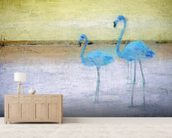 Flamingo Blue Yellow wallpaper mural living room preview
