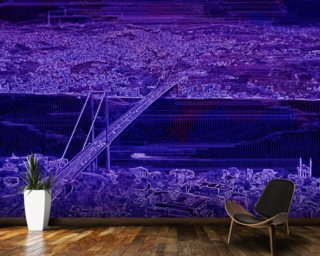 Panorama Bridge Purple wall mural