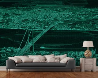 Panorama Bridge Green mural wallpaper