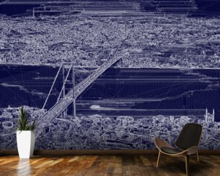 Panorama Bridge Blue wallpaper mural
