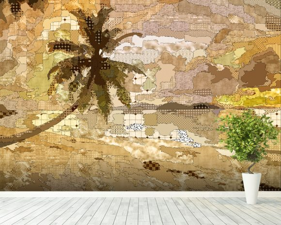 Seychelles Sepia mural wallpaper room setting