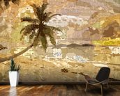 Seychelles Sepia mural wallpaper kitchen preview