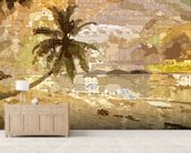 Seychelles Sepia mural wallpaper living room preview