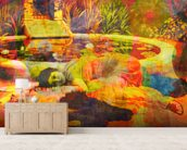 Past Time Paradise Orange wallpaper mural living room preview
