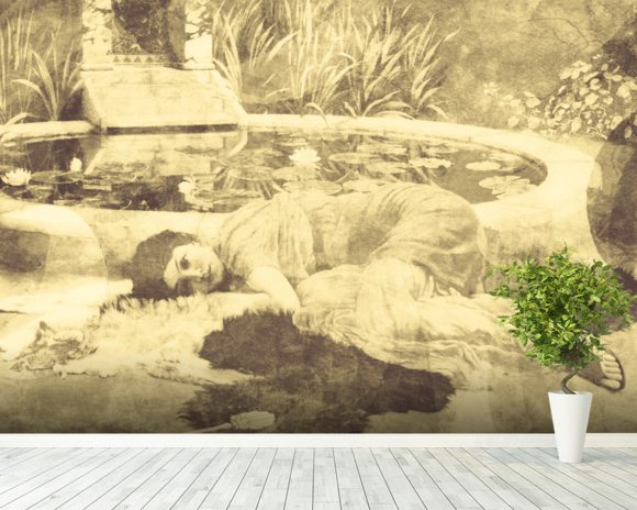 Past Time Paradise Sepia mural wallpaper room setting