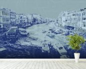 Venice - Blue wall mural in-room view