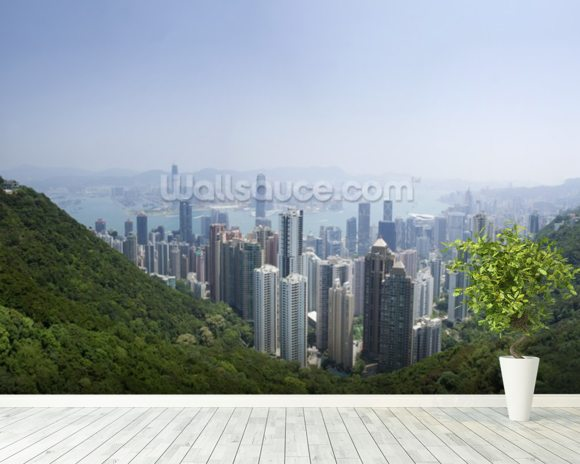 Victoria Peak Hong Kong wallpaper mural room setting