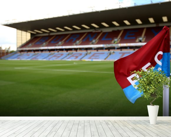 Turf Moor and Corner Flag mural wallpaper room setting