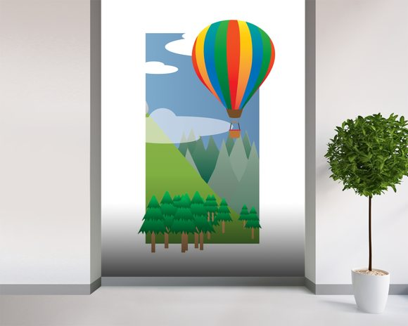 Balloon Ride in the Sky (2013) mural wallpaper room setting