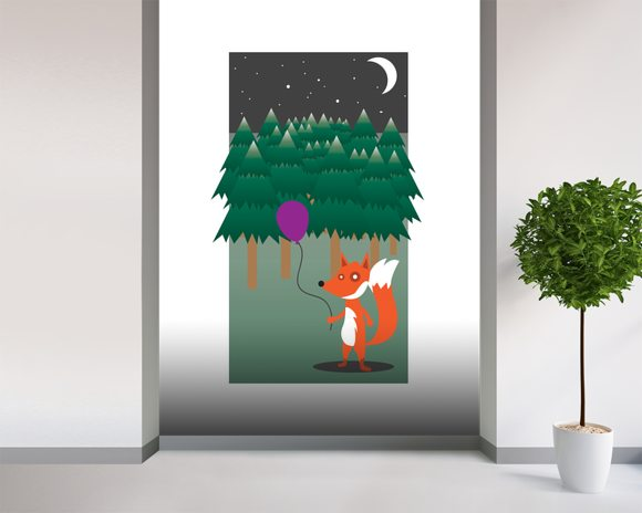 Fox in the Woods (2013) wall mural room setting
