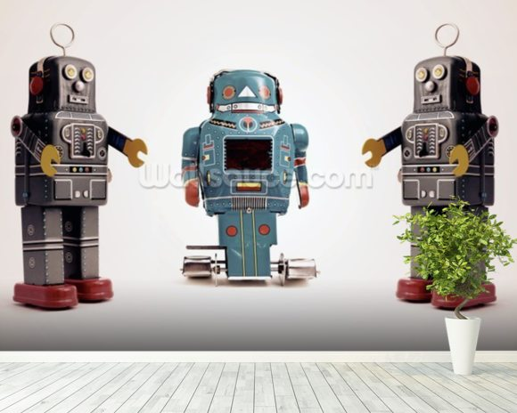 Robot Trio wallpaper mural room setting
