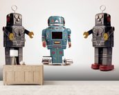 Robot Trio wallpaper mural living room preview