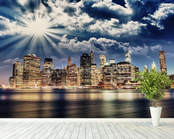 Lower Manhattan from Brooklyn wall mural room setting