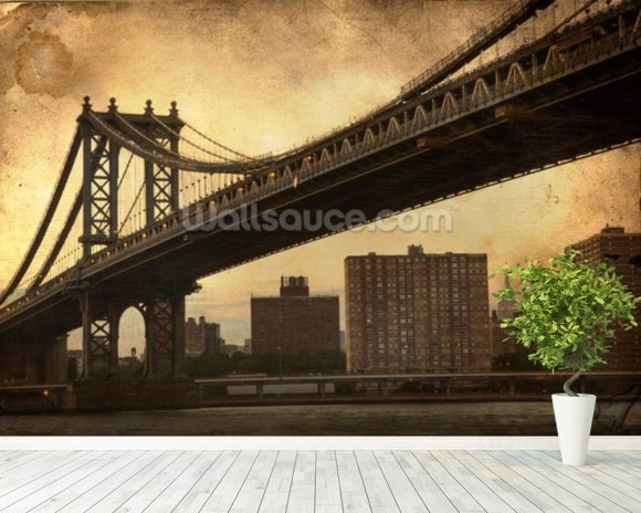 Brooklyn Bridge Sepia wallpaper mural room setting