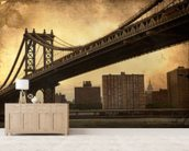 Brooklyn Bridge Sepia wallpaper mural living room preview
