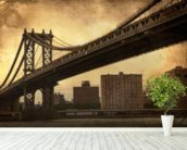 Brooklyn Bridge Sepia wallpaper mural in-room view