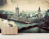 London Vintage Effect mural wallpaper living room preview